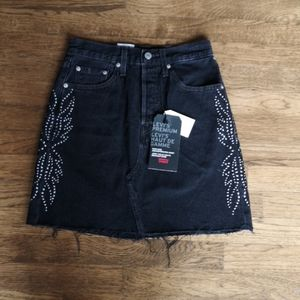 Levi's High Rise Deconstructed Skirt Red T…